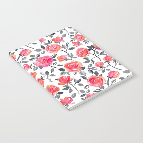 Roses on White - a watercolor floral pattern Notebook