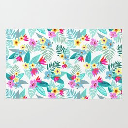 Colorful tropical flowers, palm leaves and plants, hibiscus, paradise flower, exotic print Rug