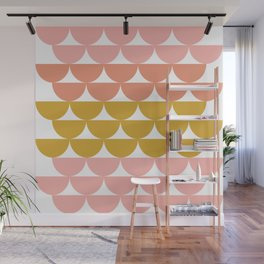Pretty Geometric Bowls Pattern in Coral and Mustard Wall Mural