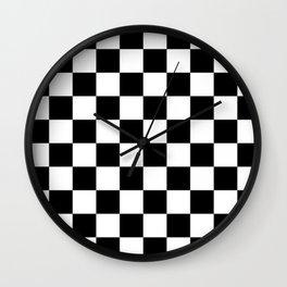 Black & White Checker Checkerboard Checkers Wall Clock