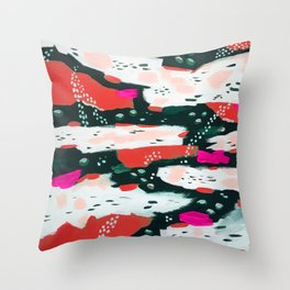 Spotted Abstract in Hot Red-Pink Throw Pillow