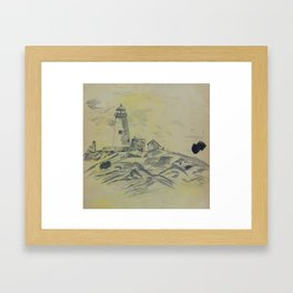 Light House and Sand Dunes - Pencil Study Framed Art Print