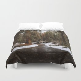 Tunnel Log Road in Sequoia Duvet Cover