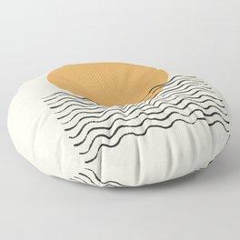 Ocean wave gold sunrise - mid century style Floor Pillow