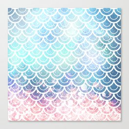 Mermaid Scales Turquoise Pink Sunset Canvas Print