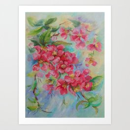Quince blossom Red flowers Floral nature painting Impressionistic Oil sketch Art Print