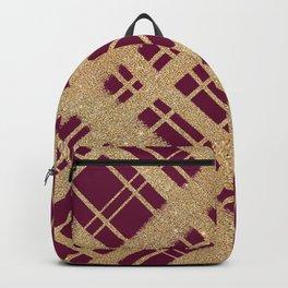 Gold Glitter Plaid on Scarlet Graphic Design Pattern Backpack