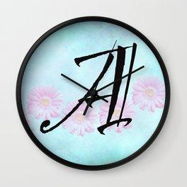 Pink Gerbera Daisy Initial Design Wall Clock