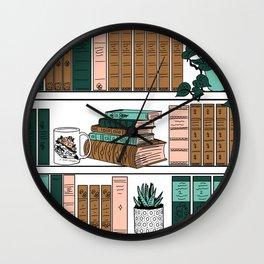 Vintage Bookshelf Wall Clock