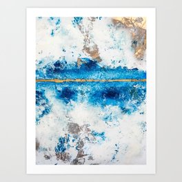 Blue Skies: a pretty, minimal abstract mixed-media piece in blue, white and gold Art Print