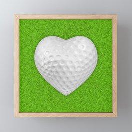 Golf ball heart / 3D render of heart shaped golf ball Framed Mini Art Print