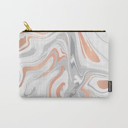 Liquid White Marble and Copper 017 Carry-All Pouch