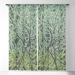 Tangled Tree Branches in Leaf and Lime Green Sheer Curtain