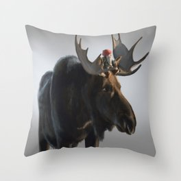Winter Gnome on Moose Throw Pillow