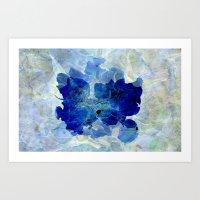Pressed Flower in Blue  Art Print