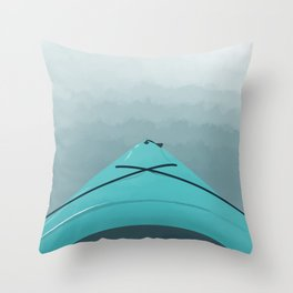 Kayak on the Sea Throw Pillow