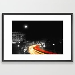 City and the moon Framed Art Print