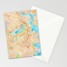 Boston watercolor map XL version Stationery Cards