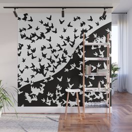 Flocks of birds. Allegory of day and night Wall Mural
