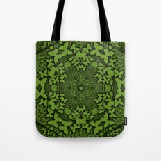 Butterfly kaleidoscope in green Tote Bag