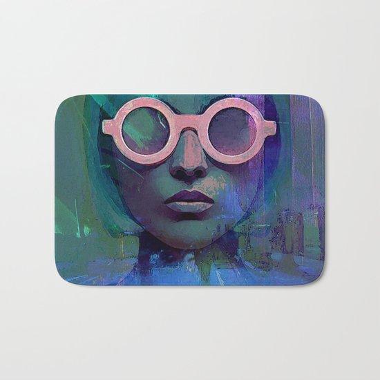 Pink Glasses girl Bath Mat
