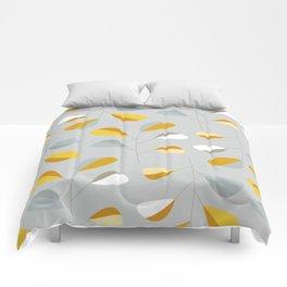 Mid Century Modern Graphic Leaves Pattern 2. Pastel Grey Comforters
