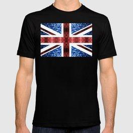 United Kingdom UK flag blue and red sparkles T-shirt