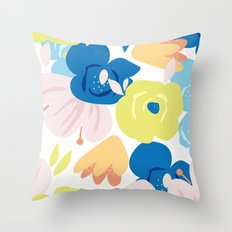 Painterly Blooms Throw Pillow