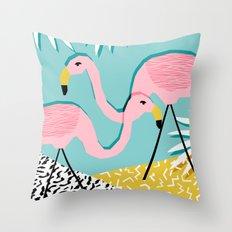 Bro - wacka design memphis throwback minimal retro hipster 1980s 80s neon pop art flamingo lawn Throw Pillow