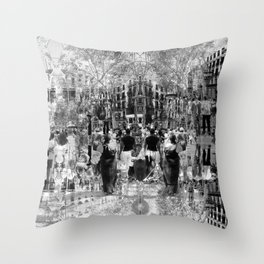 Summer space, smelting selves, simmer shimmers. 26, grayscale version Throw Pillow