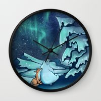 northern lights Wall Clocks featuring Northern Lights by Julia Gingras