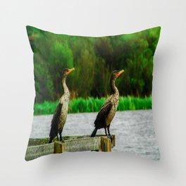 Cormorants Enjoying their View Throw Pillow