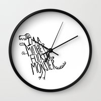 monster Wall Clocks featuring  Monster by Leah Flores