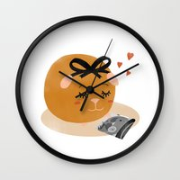 guinea pig Wall Clocks featuring Guinea Pig Portrait 1 by NdKf