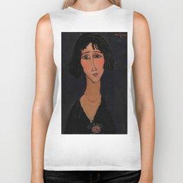 "Amedeo Modigliani ""Young Girl Wearing a Rose"" Biker Tank"