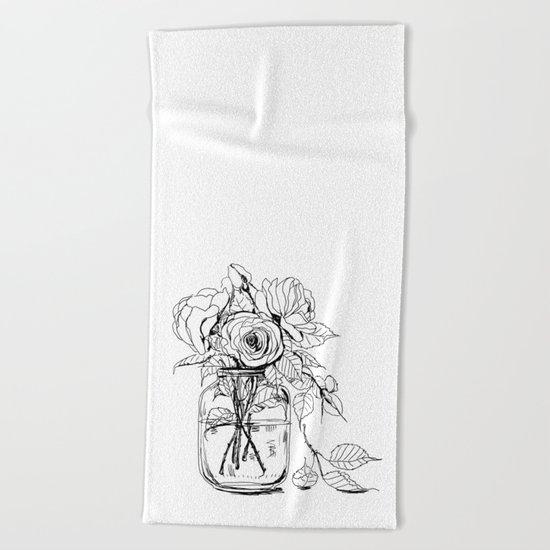 Rose flowers bouquet in a jar Beach Towel