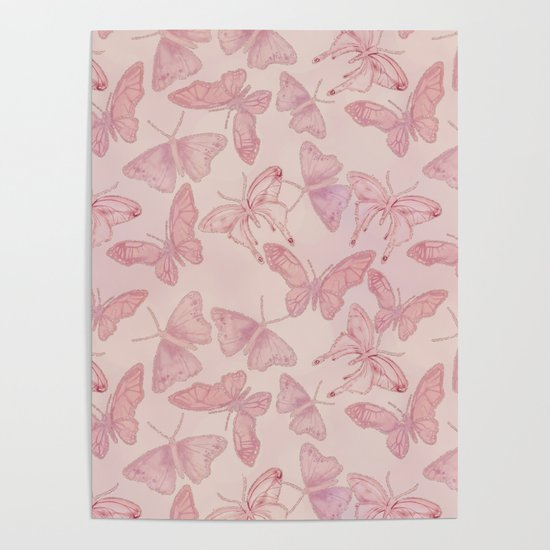 Butterfly Pattern soft pink pastel by lebensart