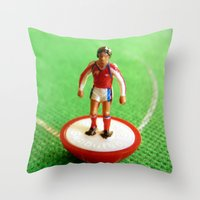 1989 Throw Pillows featuring Arsenal Subbuteo Player 1989 by Tabletop Legends