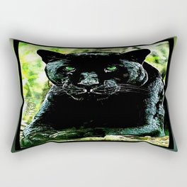 Big Cat Models: Green Eyed Black Panther Rectangular Pillow
