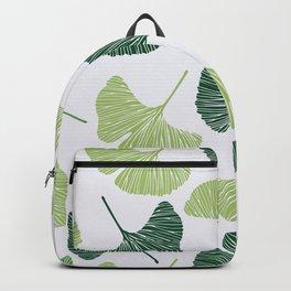Seamless pattern Green ginkgo biloba  Backpack