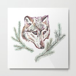 Wolf and Pine Branches Metal Print