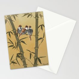 Three Sparrows In Bamboo Tree Stationery Cards