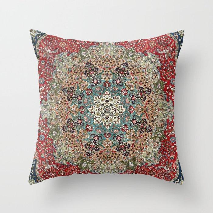 Antique Red Blue Black Persian Carpet Print Deko-Kissen