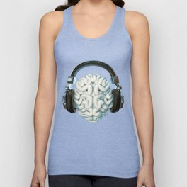 Mind Music Connection /3D render of human brain wearing headphones Unisex Tank Top