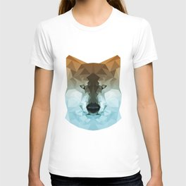 Wolf | Orange and teal polygon wolf T-shirt