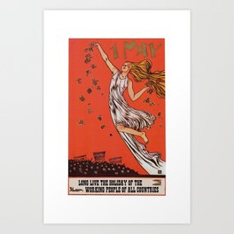 Russian May Day celebration poster in English Art Print