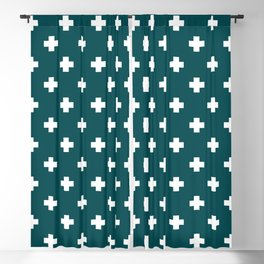 White Swiss Cross Pattern on Teal background Blackout Curtain