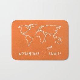 Adventure Map - Retro Orange Bath Mat