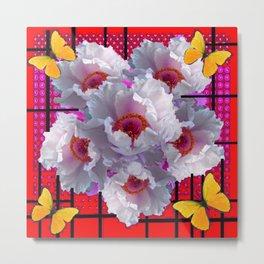 BUTTERFLIES MODERN WHITE TREE PEONY FLOWERS RED ART Metal Print