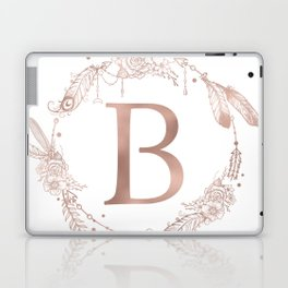 Letter B Rose Gold Pink Initial Monogram Laptop & iPad Skin